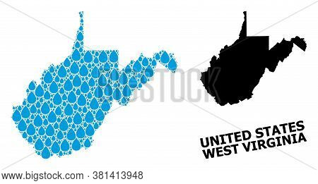 Vector Mosaic And Solid Map Of West Virginia State. Map Of West Virginia State Vector Mosaic For Cle