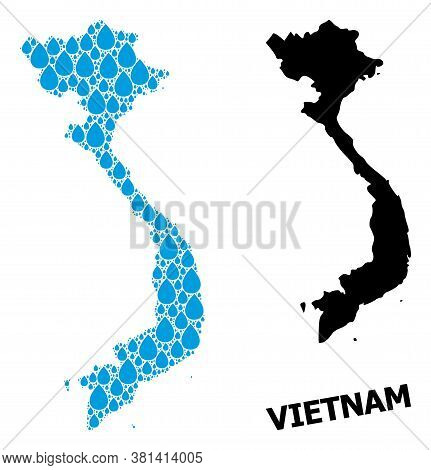 Vector Mosaic And Solid Map Of Vietnam. Map Of Vietnam Vector Mosaic For Clean Water Ads. Map Of Vie