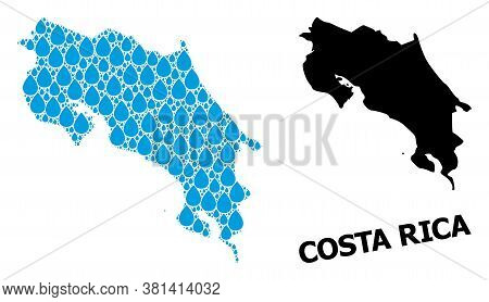 Vector Mosaic And Solid Map Of Costa Rica. Map Of Costa Rica Vector Mosaic For Pure Water Ads. Map O