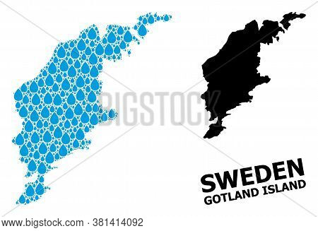 Vector Mosaic And Solid Map Of Gotland Island. Map Of Gotland Island Vector Mosaic For Clean Water A