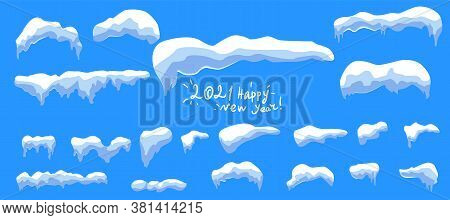 Winter Blue Background. Icy Snow Caps.the Vector Contains Snow On A Blue Vector Background. Snow Pea