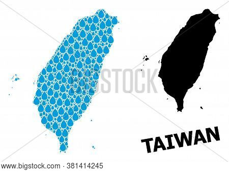 Vector Mosaic And Solid Map Of Taiwan. Map Of Taiwan Vector Mosaic For Pure Water Ads. Map Of Taiwan