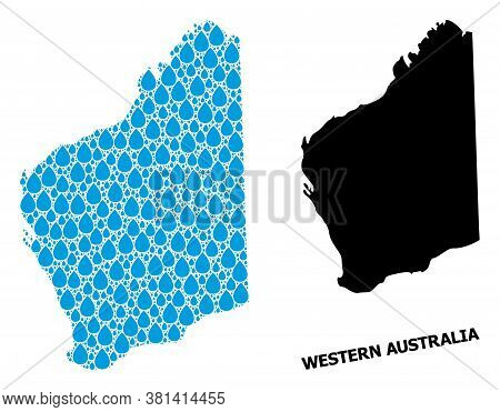 Vector Mosaic And Solid Map Of Western Australia. Map Of Western Australia Vector Mosaic For Clean W