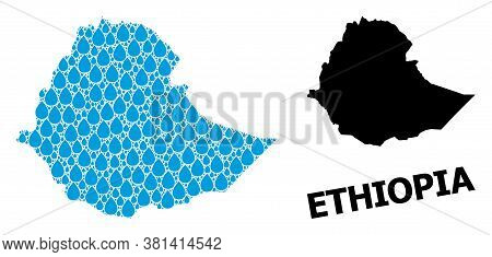 Vector Mosaic And Solid Map Of Ethiopia. Map Of Ethiopia Vector Mosaic For Clean Water Ads. Map Of E