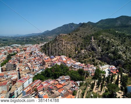 Moixent Spanish Townscape View From Above, Picturesque View To Mountains And Residential Buildings D