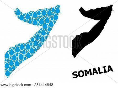 Vector Mosaic And Solid Map Of Somalia. Map Of Somalia Vector Mosaic For Drinking Water Ads. Map Of
