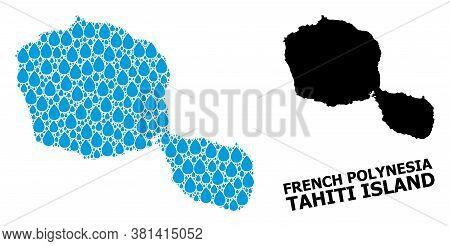 Vector Mosaic And Solid Map Of Tahiti Island. Map Of Tahiti Island Vector Mosaic For Pure Water Ads.