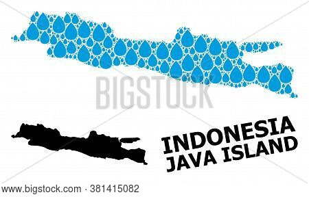 Vector Mosaic And Solid Map Of Java Island. Map Of Java Island Vector Mosaic For Clean Water Ads. Ma