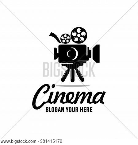 Vintage Video Camera Logo Design For Movie , Cinema Production, Movie Cinema Video Logo Design