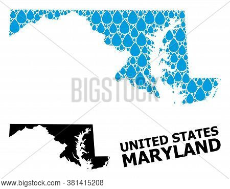Vector Mosaic And Solid Map Of Maryland State. Map Of Maryland State Vector Mosaic For Clean Water A