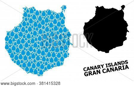 Vector Mosaic And Solid Map Of Gran Canaria. Map Of Gran Canaria Vector Mosaic For Drinking Water Ad