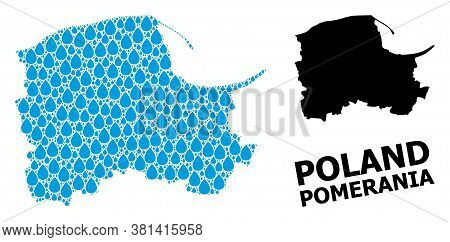 Vector Mosaic And Solid Map Of Pomerania Province. Map Of Pomerania Province Vector Mosaic For Pure