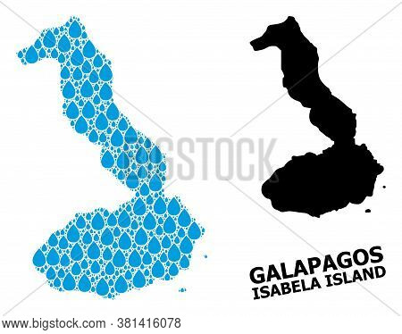 Vector Mosaic And Solid Map Of Galapagos - Isabela Island. Map Of Galapagos - Isabela Island Vector