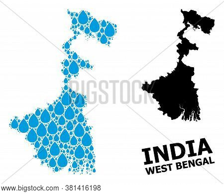 Vector Mosaic And Solid Map Of West Bengal State. Map Of West Bengal State Vector Mosaic For Pure Wa