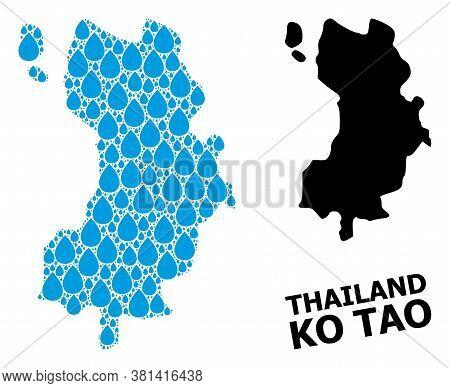 Vector Mosaic And Solid Map Of Ko Tao. Map Of Ko Tao Vector Mosaic For Drinking Water Ads. Map Of Ko