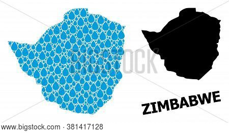 Vector Mosaic And Solid Map Of Zimbabwe. Map Of Zimbabwe Vector Mosaic For Drinking Water Ads. Map O