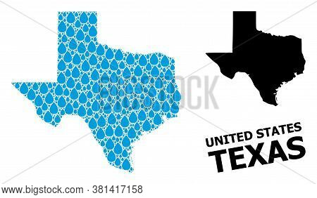 Vector Mosaic And Solid Map Of Texas State. Map Of Texas State Vector Mosaic For Pure Water Ads. Map