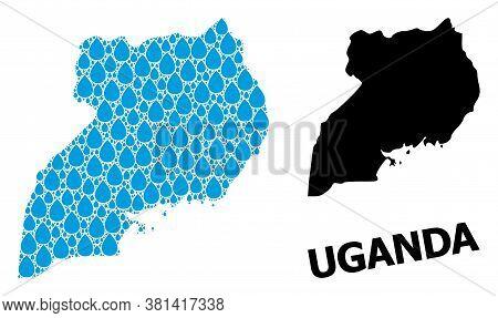 Vector Mosaic And Solid Map Of Uganda. Map Of Uganda Vector Mosaic For Drinking Water Ads. Map Of Ug
