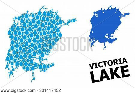Vector Mosaic And Solid Map Of Victoria Lake. Map Of Victoria Lake Vector Mosaic For Drinking Water