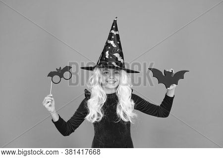 Boo To You. Little Wicked Witch Orange Background. Small Child Wear Witch Costume For Holiday Celebr