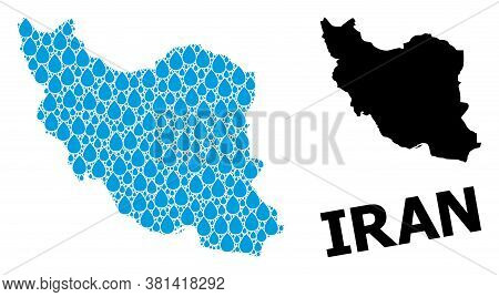 Vector Mosaic And Solid Map Of Iran. Map Of Iran Vector Mosaic For Drinking Water Ads. Map Of Iran I