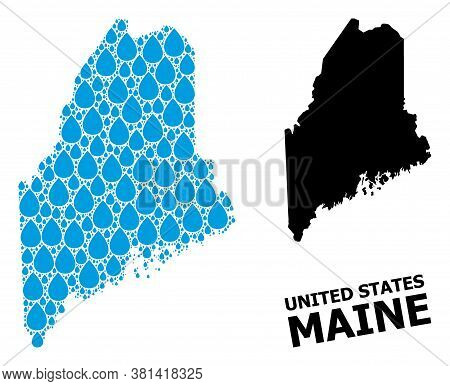 Vector Mosaic And Solid Map Of Maine State. Map Of Maine State Vector Mosaic For Clean Water Ads. Ma