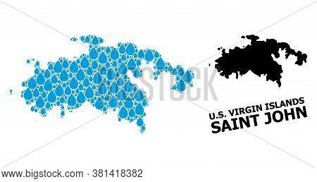 Vector Mosaic And Solid Map Of Saint John Island. Map Of Saint John Island Vector Mosaic For Pure Wa