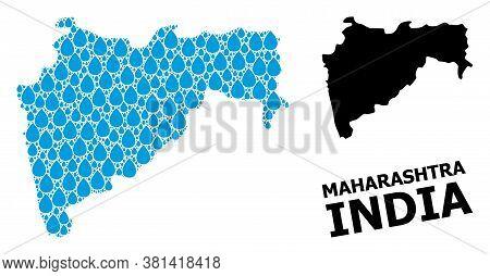 Vector Mosaic And Solid Map Of Maharashtra State. Map Of Maharashtra State Vector Mosaic For Drinkin