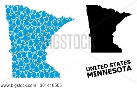 Vector Mosaic And Solid Map Of Minnesota State. Map Of Minnesota State Vector Mosaic For Pure Water