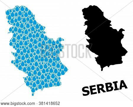 Vector Mosaic And Solid Map Of Serbia. Map Of Serbia Vector Mosaic For Drinking Water Ads. Map Of Se