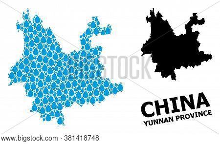Vector Mosaic And Solid Map Of Yunnan Province. Map Of Yunnan Province Vector Mosaic For Drinking Wa