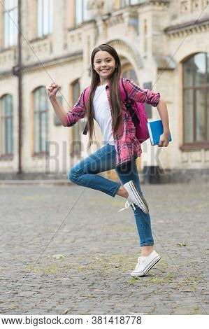 Hurry Up And Learn The Lesson. Energetic Kid Run To Lesson. Back To School. Formal Education. Privat