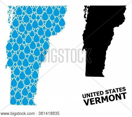 Vector Mosaic And Solid Map Of Vermont State. Map Of Vermont State Vector Mosaic For Drinking Water