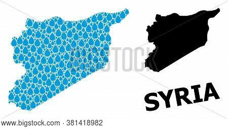 Vector Mosaic And Solid Map Of Syria. Map Of Syria Vector Mosaic For Drinking Water Ads. Map Of Syri