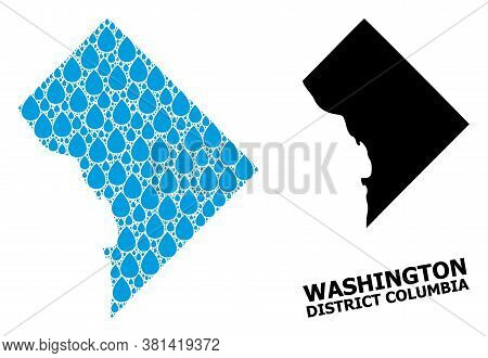 Vector Mosaic And Solid Map Of District Columbia. Map Of District Columbia Vector Mosaic For Clean W