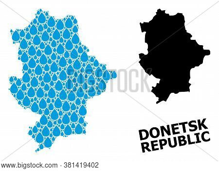 Vector Mosaic And Solid Map Of Donetsk Republic. Map Of Donetsk Republic Vector Mosaic For Pure Wate