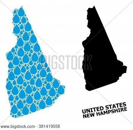 Vector Mosaic And Solid Map Of New Hampshire State. Map Of New Hampshire State Vector Mosaic For Pur