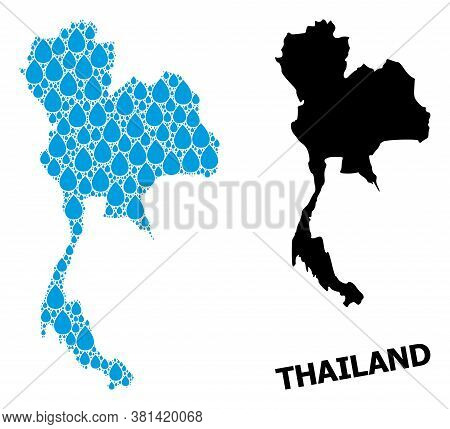 Vector Mosaic And Solid Map Of Thailand. Map Of Thailand Vector Mosaic For Drinking Water Ads. Map O