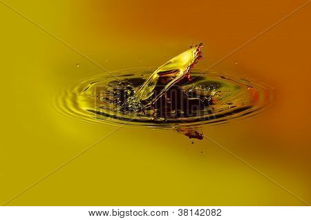 Water Drop Collision With Orange And Yellow Background
