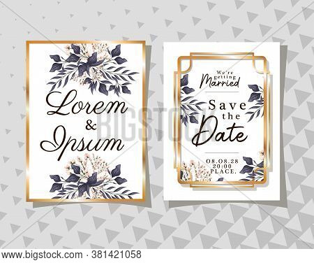 Two Wedding Invitations With Gold Ornament Frames And Buds Flowers And Leaves On Gray Background Des