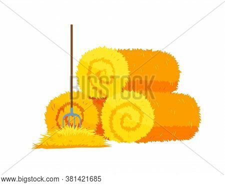 Roll Of Hay.round Hay Bales. Dried Haystack With Fork Isolated On White Background. Farming Haymow B