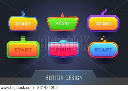 Game Button Design Set. Set Of Colored Web Buttons. Vector Button Set.