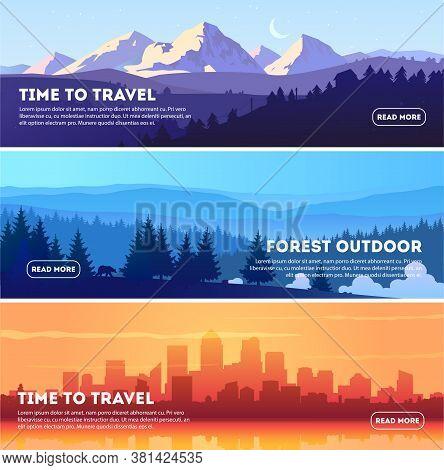 Vector Beautiful Landscape Banner Set. Horizontal Banner Concept For Web Design Development, Web Pag