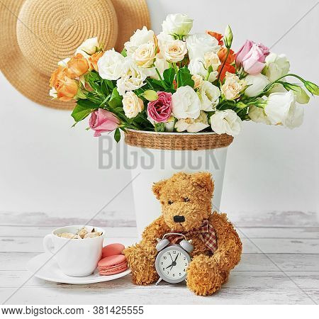 Flowers And Gifts For Women's Day. Mother's Day Greeting Card. Stuffed Toys Bear. Bouquet Of Flowers