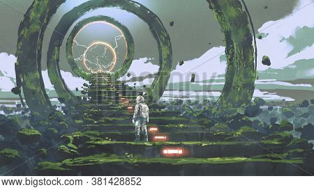 Spaceman Standing On The Futuristic Stairs And Looking At The Light At The End, Digital Art Style, I