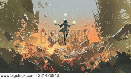 Young Girl With The Magic Balls Floating Above The Ruined City, Digital Art Style, Illustration Pain