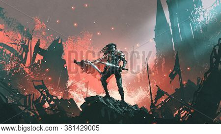 Knight With Twin Swords Standing On The Rubble Of A Burnt City, Digital Art Style, Illustration Pain