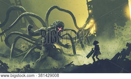 Sci-fi Scene Of A Girl Facing The Giant Monster With Tentacles, Digital Art Style, Illustration Pain
