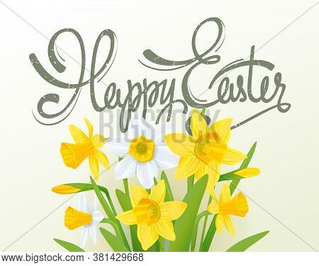 Happy Easter Lettering Calligraphy Card. Happy Easter Greeting Card With Flowers Elements Compositio