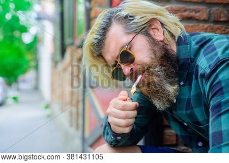 Stylish Hipster With Cigarette. Cigarette Smoke. Sensual Man Smoking Outside. Tobacco. Smoking Hipst
